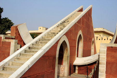 sun dial: Sun dial at Jantar Mantar- one of the astronomical observatories- at Jaipur in Rajasthan, India, Asia