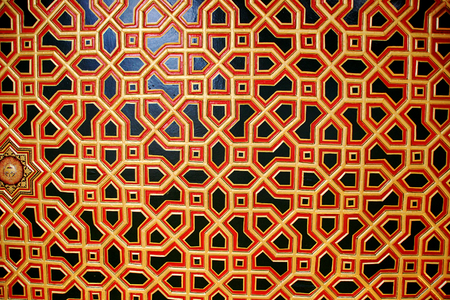 bikaner: Interesting and colorful window pattern created by intersecting hexagons at Junagarh Fort in Bikaner, Rajasthan, India, Asia