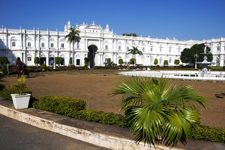 View of portion of bright, white, modern Jai Vilas Palace Museum of the Scindhias in Gwalior, Madhya Pradesh, India, Asia Editorial