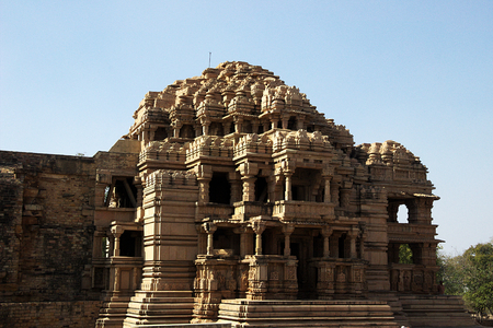 madhya pradesh: Frontal view of architectural marvel Saas-Bahu Temple at Gwalior in Madhya Pradesh, India, Asia