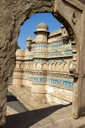 madhya pradesh: Gwalior Fort viewed through broken stone doorway Gwalior Madhya Pradesh India Asia