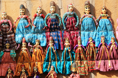 rajasthani: Display of Rajasthani handicraft dolls near PatawonkiHaweli in Jaisalmer Rajasthan India Asia