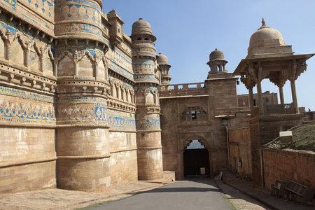 madhya pradesh: Massive metallic gate with open manual entry at Gwalior Fort Gwalior Madhya Pradesh India Asia