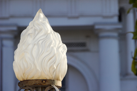 shapely: Attractive shapely white glass dome fitted on compound in front of a building