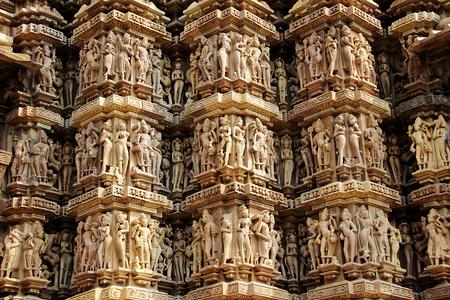 mahadev: Exquisite wall carvings at Kandariya Mahadev Temple, under Western Group of Temples in Khajuraho, Madhya Pradesh, India, Asia Stock Photo