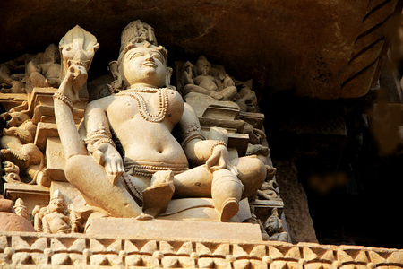 madhya pradesh: Statue of Ardha Narishwara (semi-man semi-woman) at Chaturbhuj Temple under Sothern Group of Temples in Khajuraho, Madhya Pradesh, India, Asia