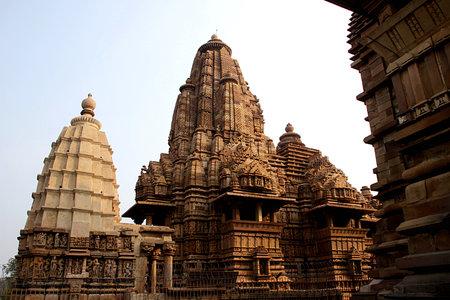 madhya: Backside view of Lakshman Temple under Western Group of Temples at Khajuraho, Madhya Pradesh, India, Asia