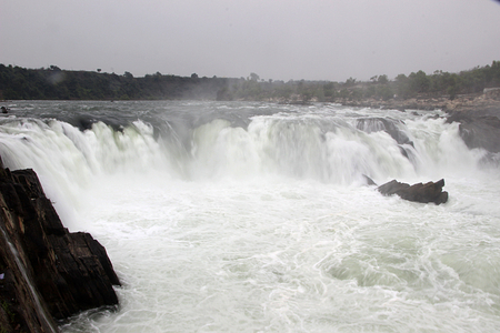 White, misty, snow like water at Dhuadhar Water Falls, Bedaghat near Jabalpur, Madhya Pradesh, India, Asia