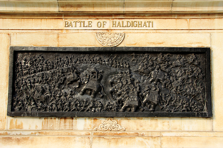 battleground: Panel depicting scene of Battle of Haldighat at Pratap Smarak in Moti Magri, Udaipur, Gujarath, India, Asia