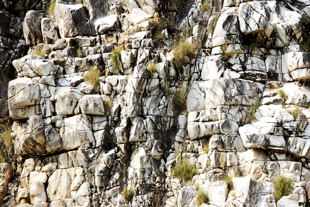 closer: Closer view of marble rock face situated on either side of river Narmada at Bedaghat near Jabalpur, Madhya Pradesh, India Asia