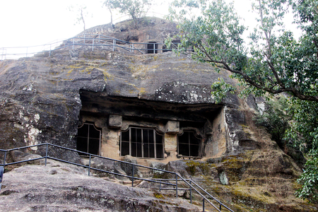 madhya: Pandav Caves are five dwellings excavated in sandstone rock at low hill in Pachmarhi, Madhya Pradesh, India, Asia
