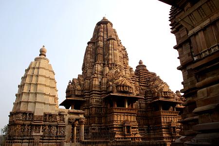 madhya pradesh: Backside view of Lakshman Temple under Western Group of Temples at Khajuraho, Madhya Pradesh, India, Asia