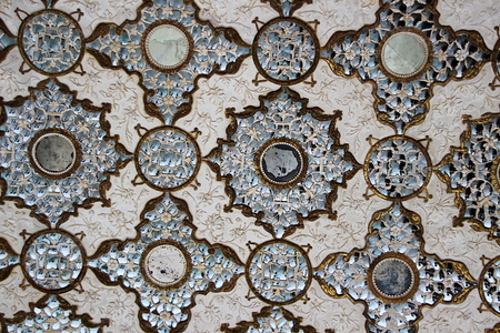 inlay: Design by etching and glass inlay on marble at Amer Palace, Jaipur, Rajasthan, India, Asia Stock Photo