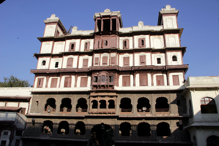 frontage: Frontal view of Holkar Museum and Gallery, Rajawada, Indore, Madhya Pradesh, India, Asia