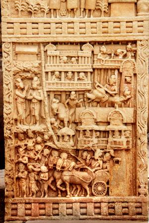 madhya: Carving on pillar depicting life of Buddha at Stupa in Sanchi, near Bhopal, Madhya Pradesh, India, Asia Stock Photo