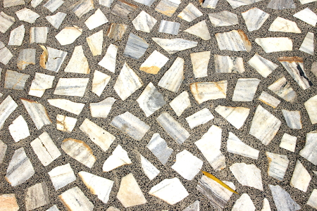 marble flooring: Flooring pattern of random shaped marble stone blocks bonded with cement concrete