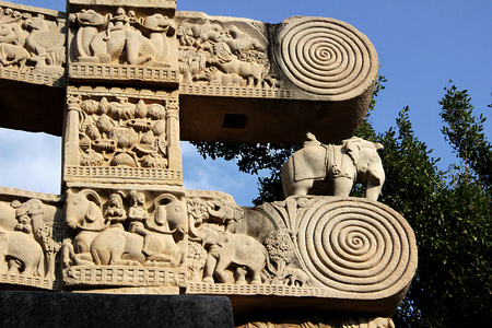bhopal: Details on top portion of gateway of Stupa at Sanchi, near Bhopal, Madhya Pradesh, India, Asia