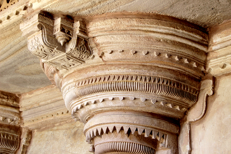 Exquisite carving on top of pillar at Gwalior Fort, Gwalior, Madhya Pradesh, India, Asia