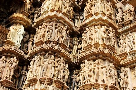 madhya pradesh: Impressive, imaginative and skillful carving of at Kandariya Mahadev Temple in Khajuraho, Madhya Pradesh, India, Asia