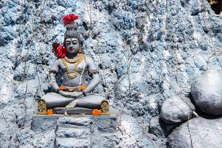 penance: Statue of Lord Shiva sitting in penance stance at Amba Bhavani Temple, Bengaluru, Karnataka, India, Asia