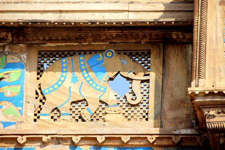 bas relief: Stone elephant bas relief work on window pane at Gwalior Fort, Gwalior, Madhya Pradesh, India, Asia