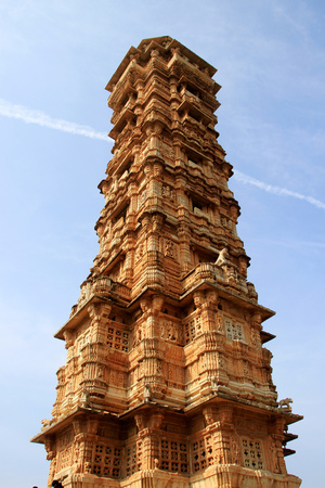 upper floor: Vijay Sthambh (Victory Tower) at Chittorgarh Fort, viewed against blue sky , Rajasthan, India, Asia Stock Photo