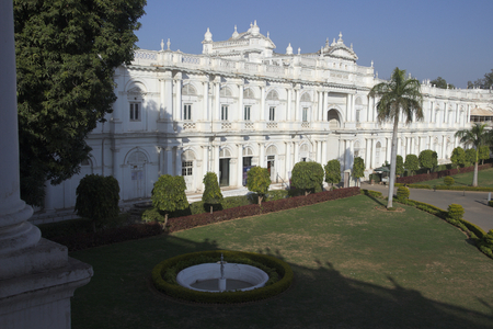 High angle view of bright, white, modern Jai Vilas Palace Museum of the Scindhias in Gwalior, Madhya Pradesh, India, Asia Banco de Imagens - 48399595