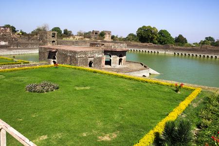 madhya pradesh: Kapoor Talao with landscaped bund, opposite Jahaz Mahal, at Mandu in Madhya Pradesh, India, Asia