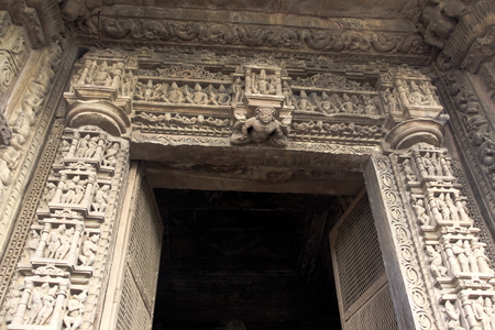 exclusively: Exclusively carved, artistic, stone door frame at Chaturbhuj Temple in Khajuraho, Madhya Pradesh, India, Asia