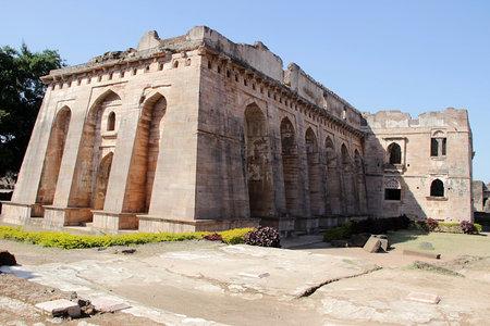 madhya: View of Hindola Mahal or Swinging Palace audience hall with sloping side walls at Mandu, Madhya Pradesh, India, Asia