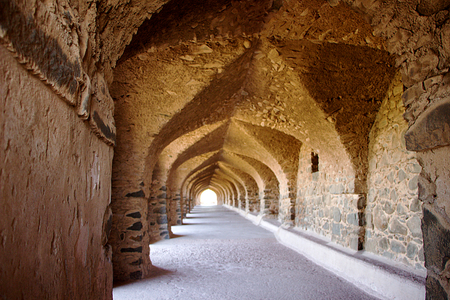 madhya pradesh: Arched stone passage at Roopmati Pavilion in Mandu, Madhya Pradesh, India, Asia Editorial