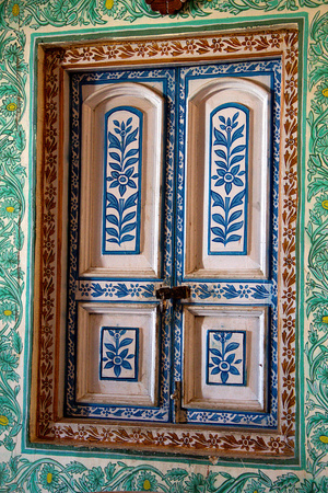 window panes: Colorfully decorated window panes and casing with floral design at Jaivilas Palace Museum, Gwalior, Madhya Pradesh, India, Asia