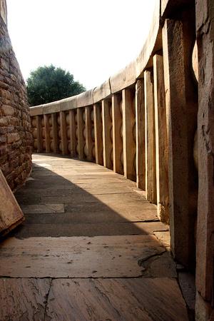 madhya: Peripheral, circular stone corridor at Stupa-I in Sanchi, near Bhopal, Madhya Pradesh, India, Asia