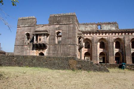 madhya: View of portion of Hindola Mahal or Swinging Palace at Mandu in Madhya Pradesh, India, Asia Editorial