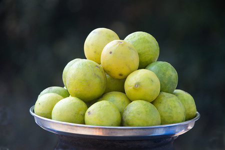 Steel plate containing heap of Lemon, a pale yellow, thick-skinned citrus fruit with sour, acidic juice containing vitamin C