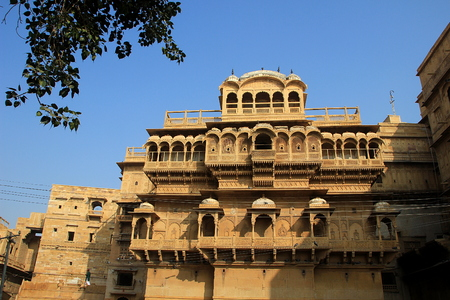 decorative balconies: Haweli with plenty of balconies with decorative pillars and arches at Jaisalmer Fort in Jaisalmer, Rajasthan, India, Asia Editorial