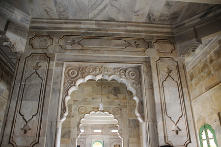 Marble interior with arched open entrances at Jaswanth Thada in Jodhpur, Rajasthan, India, Asia