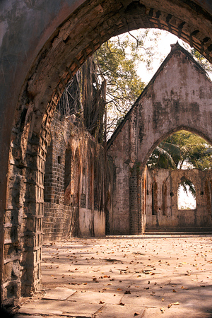 forlorn: Interior of forlorn church without roof at Ross Island near Port Blair, Andaman, India, Asia Stock Photo