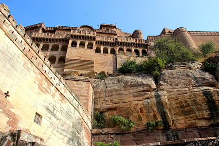 View from bottom of mammoth Meharongarh Fort situated on rocky hill in Jodhpur, Rajasthan, India, Asia