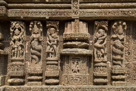 Intricately sculpted wall panel at Sun Temple in Konark, Odisha (Orrissa), India, Asia