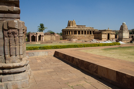 View of Durga Temple (Middle one with semi-circular back portion), Aihole near Bagalkot, Karnataka, India, Asia