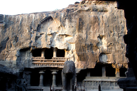 Rock-cut, multi-storey Kailash Cave Temple at Ellora, Maharashtra, India, Asia