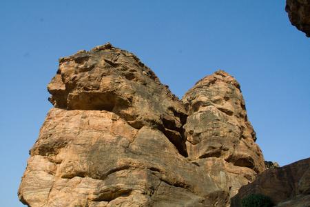 karnataka: Curious shaped rocky boulders near Cave Temples on Southern Hill at Badami, Karnataka, India, Asia