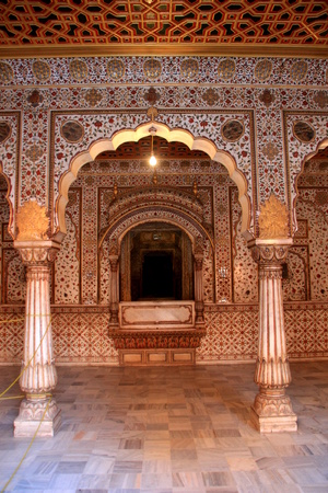 Place of  throne of king in hall of audience at Junagarh fort, Bikaner, Rajasthan, India, Asia Editorial