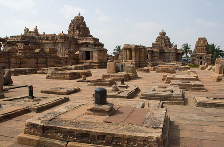 An array of Saiva Temples, some of the in dilated condition at Pattadakal, Bagalkot District, Karnataka, India, Asia