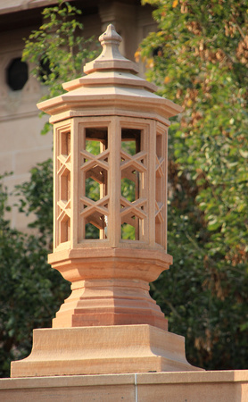 Lamp post carved in stone on the compound of Umaid Bhavan Palace, Jodhpur, Rajasthan, India, Asia Stock Photo