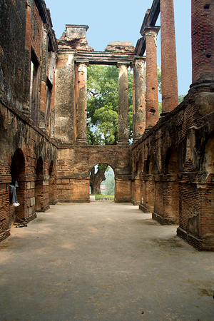 Open roof of dilapidated historical Residency at Lucknow in Uttar Pradesh, India, Asia