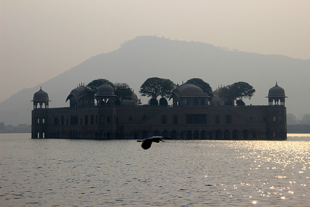Jalmahal Summer Palace situated in the middle of lake at Jaipur, Rajasthan, India, Asia Stock Photo