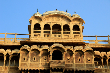 Top portion of facade of Haweli at Jaisalmer Fort in Jaisalmer, Rajasthan, India, Asia