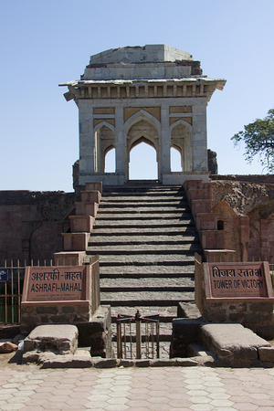Steps leading to Tower of Victory and Ashrafi Mahal opposite Masjid at Mandu, Madhya Pradesh, India, Asia